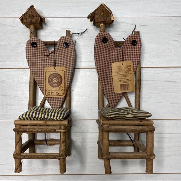 Boyds Bears Twig Chairs Set /2 Birdhouse NWT